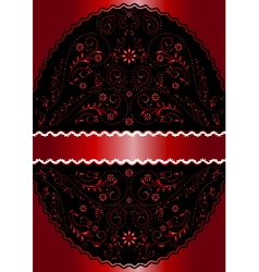 Red ribbon in red wavy openwork floral oval frame vector image