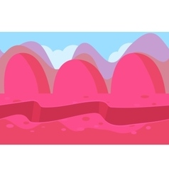 Seamless landscape of pink and purple hills vector