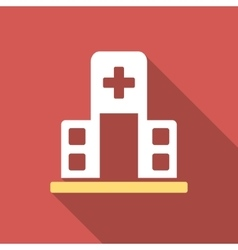Hospital building flat square icon with long vector