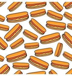 Seamless pattern of hot dogs vector