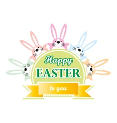 Happy easter bunny to you greeting card vector