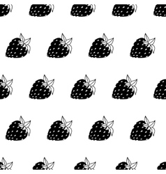 Black and white strawberries vector