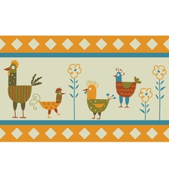Funny hen background vector