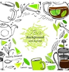 Hand drawn tea concept vector