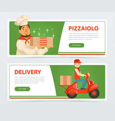 Banner with italian pizzaiolo and delivery service vector
