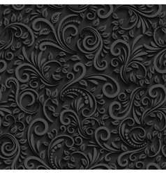 Black floral seamless pattern with shadow vector