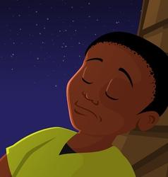 boy sleeping outside vector image vector image