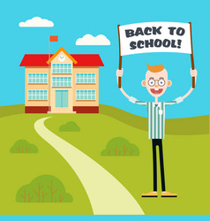boy with a poster go back to school vector image vector image