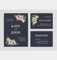 bundle of beautiful wedding invitation save the vector image