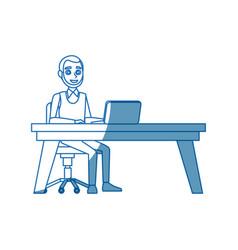 business man sitting computer working desk vector image