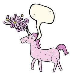 Cartoon magical unicorn with speech bubble vector