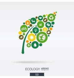 Color circles flat icons in a leaf shape ecology vector