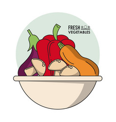 Colorful poster of bowl with fresh vegetables vector