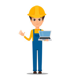 Constructor worker handsome builder holding vector