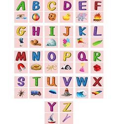 English alphabets A to Z with pictures vector image