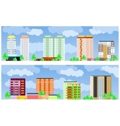 Facades of buildings vector image