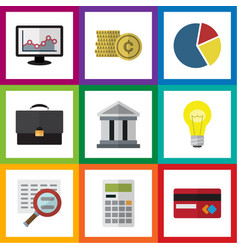 Flat exchequer set of portfolio graph bank and vector