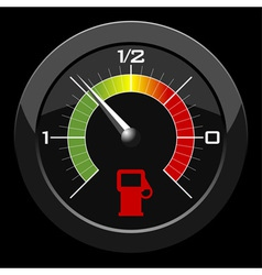 fuel gauge colored scale over black background vector image