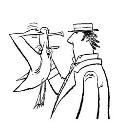 Gentleman and seagull humor vector