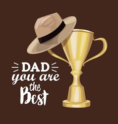 Greeting card best dad in the world with trophy vector