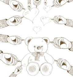 hand drawn bear with heart vector image