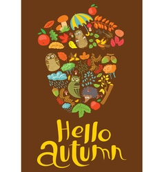 Hellow autumn lettering with acorn silhouette vector image