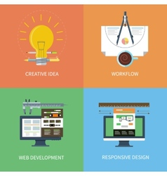 Idea design web development workflow icons set vector