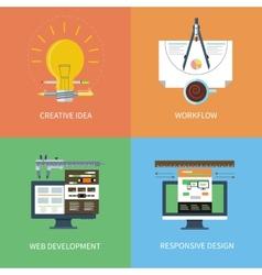 Idea design web development workflow icons set vector image vector image