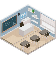 isometric classroom icon vector image vector image