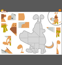 jigsaw puzzle game with dog and tablet vector image