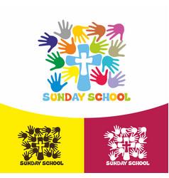Logo sunday school and christian symbols vector