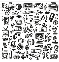 mass media - doodles set vector image vector image