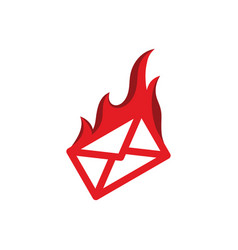 message mail on fire burning red flame hot logo vector image