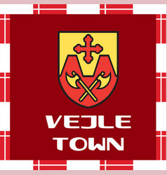 National ensigns of denmark - vejle town vector