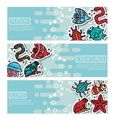 Set of horizontal banners about poison creatures vector