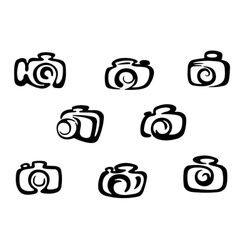 Set of photo camera symbols vector image vector image