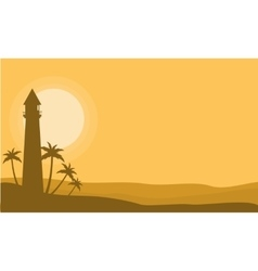 Silhouette of lighthouse on yellow backgrounds vector