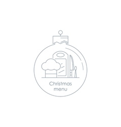 Special xmas menu linear design icon and logo vector