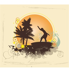 summer with surfer vector image vector image