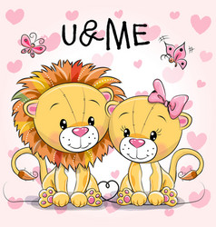 Two cute lions on a hearts background vector