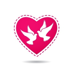 Two white doves on a red heart background vector