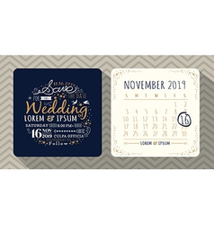 Vintage typography wedding invitation vector image