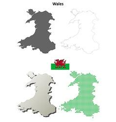 Wales outline map set vector image