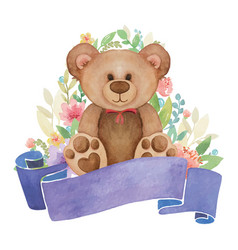 Watercolor toy bear with flower decor and banner vector