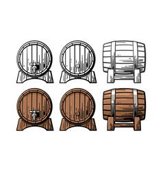 Wooden barrel front and side view engraving vector
