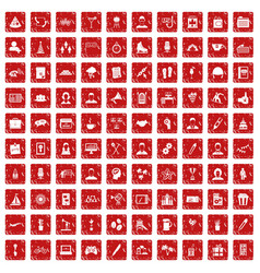 100 team building icons set grunge red vector image vector image