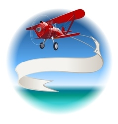 Retro biplane with banner vector