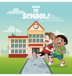 Building kids back to school design vector