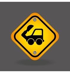 excavator truck yellow road street sign vector image