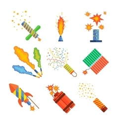 Pyrotechnics and fireworks vector